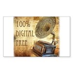 100% Digital Free! Sticker (Rectangle)
