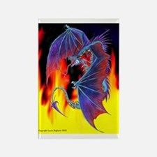 Snarling Fire Dragon Rectangle Magnet