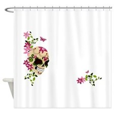 Sugar Skull with Stargazer Lilly Shower Curtain