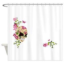 Sugar Skull with Stargazer Lilly Shower Curtain