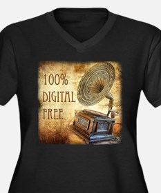 100% Digital Free! Women's Plus Size V-Neck Dark T