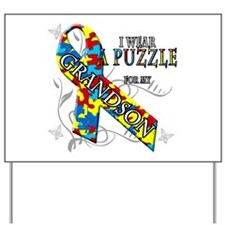 I Wear A Puzzle for my Grandson Yard Sign
