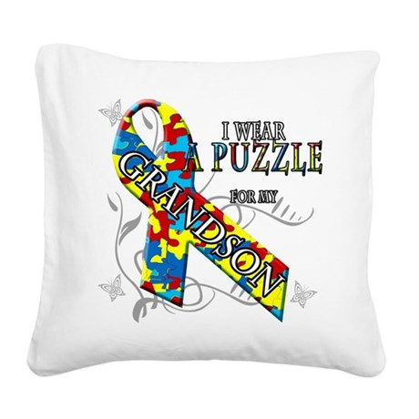 I Wear A Puzzle for my Grandson Square Canvas Pill