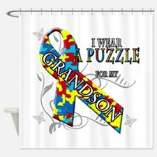 I Wear A Puzzle for my Grandson Shower Curtain