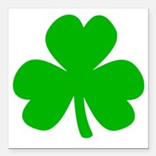 "Three Leaf Clover Square Car Magnet 3"" x 3"""