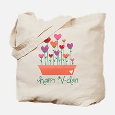 Happy Valentines Day Heart Plant Tote Bag
