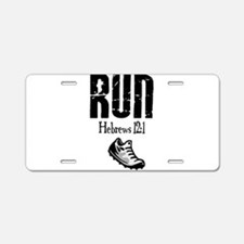 run hebrews.png Aluminum License Plate