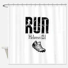 run hebrews.png Shower Curtain