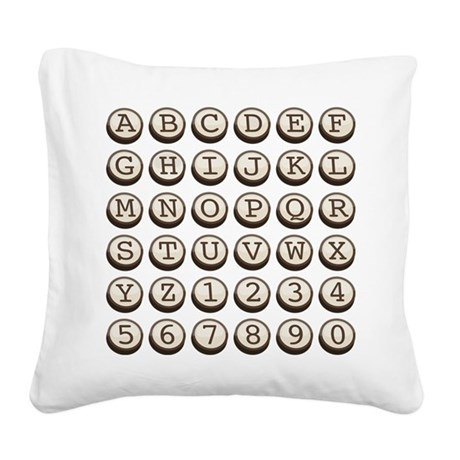 Old Fashioned Typewriter Keys Square Canvas Pillow
