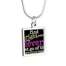 Let Go! Silver Square Necklace