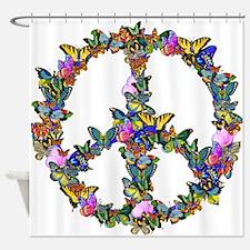 Butterflies Peace Sign Shower Curtain