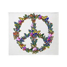 Butterflies Peace Sign Throw Blanket