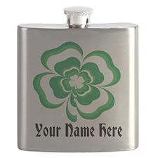 Customizable Stacked Shamrock Flask