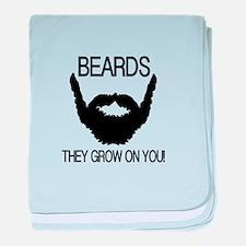 Beards they grow on you baby blanket