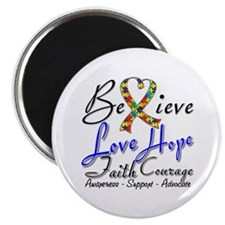 """Autism Believe Heart Collage 2.25"""" Magnet (100 pac"""