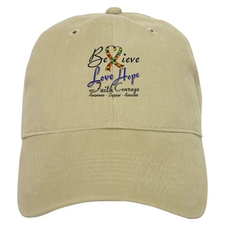 Autism Believe Heart Collage Cap