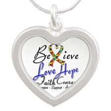 Autism Believe Heart Collage Silver Heart Necklace