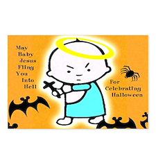 Baby Jesus Flings You Into Hell Postcards - 8 Pak