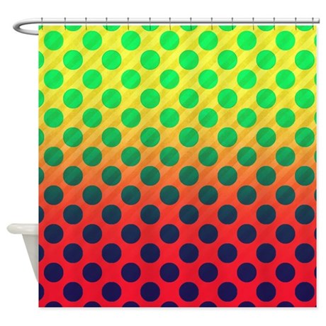 green red yellow polka dot shower curtain by thehomeshop. Black Bedroom Furniture Sets. Home Design Ideas
