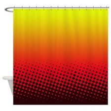 Red and Yellow Halftone Shower Curtain