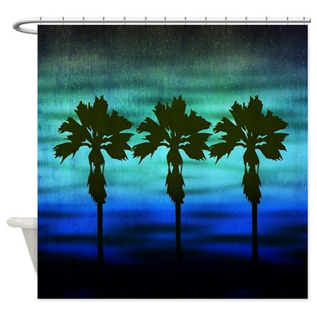 Blue Palm Trees Shower Curtain