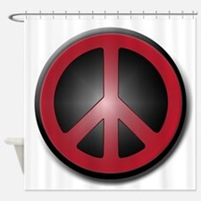 Glowing Red Peace Symbol Shower Curtain
