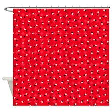 Red Confetti Shower Curtain
