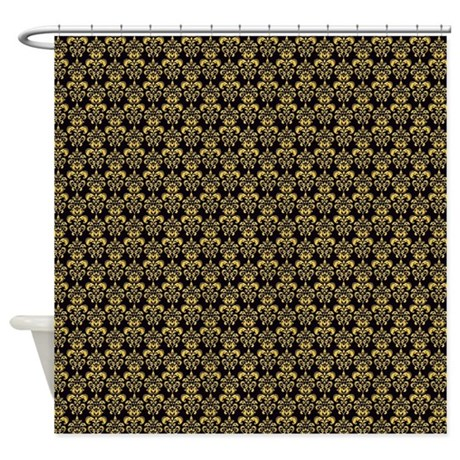 Gold fleur de lis large shower curtain by thehomeshop - Fleur de lis shower curtains ...