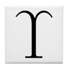 Greek Symbol Upsilon Tile Coaster