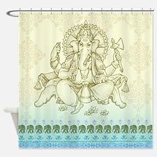Ganesha Dip Dyed Shower Curtain