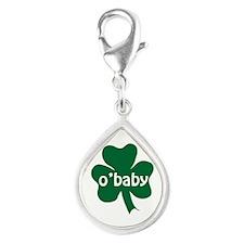 O'Baby Shamrock Silver Teardrop Charm