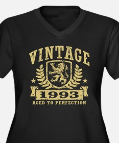 Vintage 1993 Women's Plus Size V-Neck Dark T-Shirt
