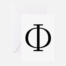 Greek Phi Golden Ratio Greeting Cards (Package of