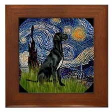 Cute Black dane Framed Tile