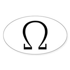 Greek Omega Symbol Oval Decal