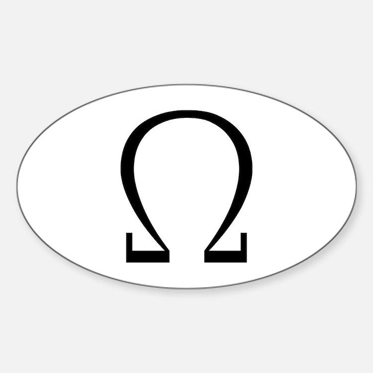 Greek Omega Symbol Oval Decal