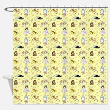 Pomeranian Pattern Yellow Shower Curtain