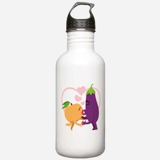 Emoji Eggplant and Pea Water Bottle