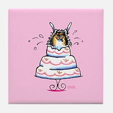 Tricolor Pomeranian Cake Tile Coaster