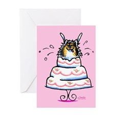 Tricolor Pomeranian Cake Greeting Card