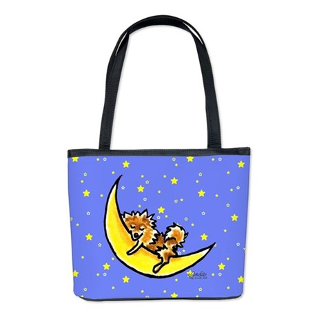 Pomeranian Moon Bucket Bag