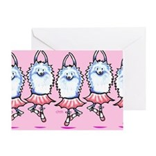 White Pomeranian Ballerina Greeting Card