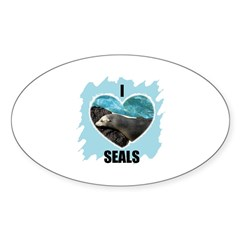 I LOVE SEALS Oval Decal