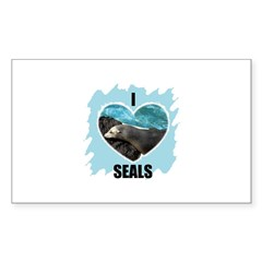 I LOVE SEALS Rectangle Decal