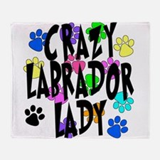 Crazy Labrador Lady Throw Blanket