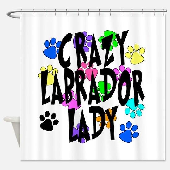 Crazy Labrador Lady Shower Curtain