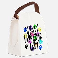 Crazy Labrador Lady Canvas Lunch Bag