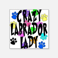 "Crazy Labrador Lady Square Sticker 3"" x 3"""