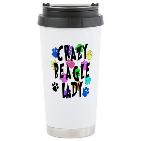 Crazy Beagle Lady Stainless Steel Travel Mug