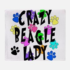 Crazy Beagle Lady Throw Blanket